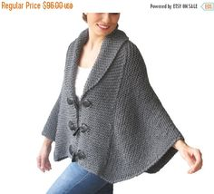 WINTER SALE 20% Plus Size Hand Knitted Silver Dark Grey Poncho with Leather Rope by Afra