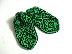 womens slippers Neon Green and black Traditional by AnatoliaDreams, $27.50