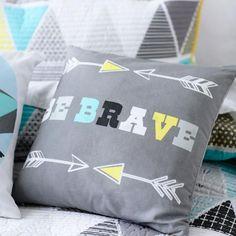 Adairs Be Brave pillow Kids Bedroom Dream, Dream Kids, Bedroom Ideas, Adairs Kids, Man Room, Baby Boy Nurseries, Kid Spaces, Quilt Cover, Kids Decor