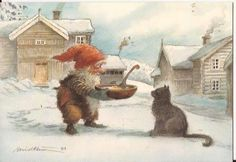 The Yule cat and gnome Norwegian Christmas, Scandinavian Christmas, Illustrations Vintage, Illustration Art, Vintage Christmas Cards, Christmas Pictures, Inspiration Art, Elves And Fairies, Christmas Gnome