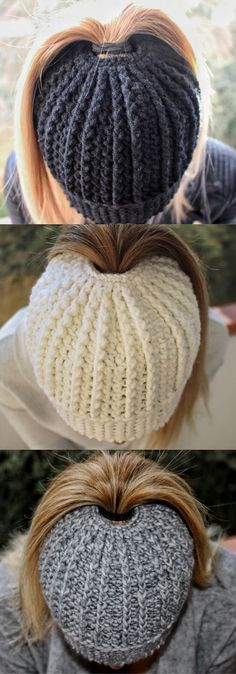 Textured Messy Bun Pattern using double crochet. Step-by-Step pattern. Bonnet Crochet, Crochet Beanie, Crochet Baby, Free Crochet, Knitted Hats, Knit Crochet, Crotchet, Tunisian Crochet, Easy Crochet