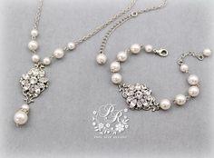 Wedding Necklace Bracelet set Swarovski Pearl by PureRainDesigns