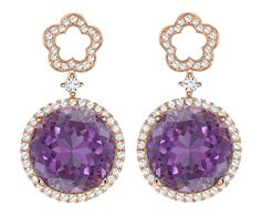 KIKI MCDONOUGH.- Eden Diamond Flower and Amethyst Drop Earrings £2,900.00 A new design that has become one of Kiki's favourite; beautiful purple amethyst and diamond drop earrings with a delicate diamond flower stud in 18ct rose gold.
