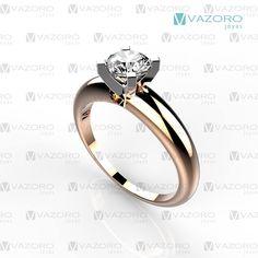 Anillo de compromiso montadura intercambiable combina oro rosa y oro blanco de 14 o 18 kilates