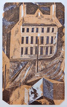 """""""The Owl House"""" by Charles Shearer (collagraph) Collagraph Printmaking, Printmaking Ideas, Owl House, House 2, Linoleum Block Printing, Collage Illustration, Illustrations, Royal College Of Art, New Print"""