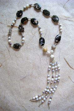 HerminePDesign: Tassel necklace made of jasper beads, freshwater pearls and petite glass beads