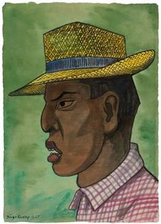Man in Panama Hat. Diego Rivera (Mexican 1886-1957) Man in Panama Hat signed and dated 'Diego Rivera 1947' (lower left) watercolor on rice paper (39 x 27.6 cm.) Executed in 1947.