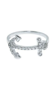 Nautical Pave Anchor Ring ♥