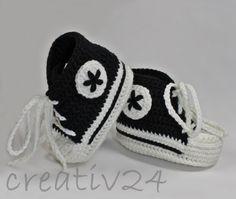 Strick- & Häkelschuhe - Babyschuhe - Turnschuhe gehäkelt schwarz - ein Designerstück von creativ24eu bei DaWanda Baby Shoes, Creativity, Etsy, Kids, Clothes, Fashion, Tejidos, Clothing, Trainer Shoes