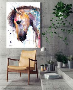 Beautiful Horse watercolor painting print by Slaveika Watercolor Horse, Watercolor Paper, Watercolor Paintings, Original Paintings, Cow Drawing, Beautiful Horses, Painting Prints, Giclee Print, Wildlife