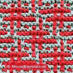 is a Hashtag mosaic knit stitch. The color pattern is created using slipped stitches and working with one color per row. This is a cool stitch to know! Slip Stitch Knitting, Knitting Squares, Beginner Knitting Patterns, Knitting Charts, Loom Knitting, Knitting Stitches, Mosaic Patterns, Crochet Patterns, Mosaic Knitting
