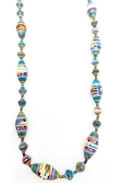 Teal, blue & other color stripes oval bead necklace