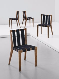Jean Royère; Custom Oak and Webbing Chairs, 1950s.