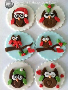 Christmas Owl cupcake fondant toppers.