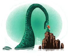 Merida and Nessie!!! Loch Ness Monster!! Cause she's Scottish!