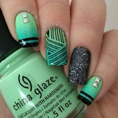 Instagram media by deanne29 - I'll apologise now for the terrible quality of this picture I've been away and not had my daylight lamp  Anyway I absolutely love this mani. I used @barrymcosmetics Green Berry and @chinaglazeofficial High Light Of My Summer for the gradient. Then I stamped with plate BP-41 from @bornprettystore.