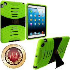 Amazon.com: myLife (TM) Lime Green + Black Shockproof Survivor (With Built In Kickstand) Durable Ridge Case for Apple iPad Mini Touch Tablet...