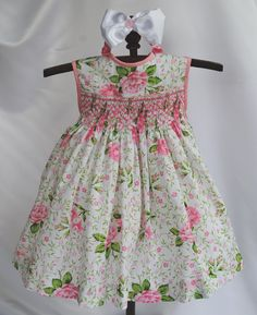 Paris Rose Hand Smocked Baby Dress 6 months - Last One in this Fabric