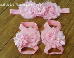 Bebé rosa arco sandalias pies descalzos por FunkidsandUsBoutique