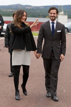 Princess Sofia of Sweden and Prince Carl Philip of Sweden visit the old stone porphyry during the second day of their trip to Dalarna on October 6, 2015 in Alvdalen, Sweden.