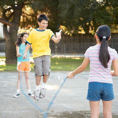 Puddle Jumping:    Hand each person a plastic cup filled with water.    One at a time while holding their cups, players must jump into the turning rope and complete 6 jumps. The player with the most water left wins.