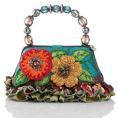 New Mary Frances Bali Floral Bag with Beaded Handle COA Authentic Vintage Purses, Vintage Bags, Vintage Handbags, Mary Frances Purses, Mary Frances Handbags, Beaded Purses, Beaded Bags, Sacs Design, Floral Bags