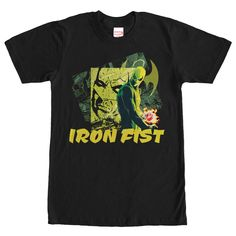 Green Iron - Iron Fist seeks revenge on his fathers murderer with the help of the Marvel Vengeance of Iron Fist Black T-Shirt! Daniel Rands alter ego, Iron Fist, is portrayed on this black shirt with his fist glowing with a supernatural power and Iron Fist below