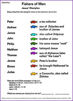 of Men - matching disciples with their descriptions. Going to use this in my lesson plan this year.Fishers of Men - matching disciples with their descriptions. Going to use this in my lesson plan this year. Sunday School Kids, Sunday School Activities, Bible Activities, Sunday School Lessons, Sunday School Crafts, Church Activities, Bible Games, Bible Trivia, Teaching Activities