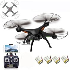 Remote-Controlled-Quadcopter-Syma-X5SW-Drone-w-Wifi-Camera-4-Extra-Batteries
