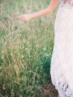 Delicate Outdoor Bridal Portraits//Once Wed//Styling by Wit Weddings//Amelia Johnson Photography//Rue de Seine bridal gown