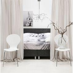 Slaapkamer, gordijnen, wit