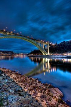 Nightlights of Arrabida Bridge over River Douro ~ Porto, Portugal