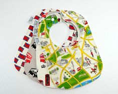 Etsy :: Your place to buy and sell all things handmade London Landmarks, London Map, Famous Landmarks, Double Decker Bus, Handmade Tags, Cotton Fleece, Baby Skin, Union Jack, Baby Bibs
