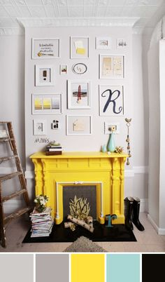 color palette inspo: acid yellow fireplace