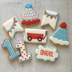 Red, White & Blue Birthday Wagon and Bunting Cookies