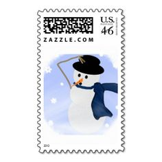 Snowman in the Wind Postage Stamp