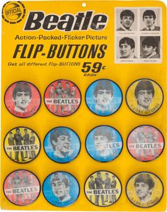 Beatles Lenticular Pin-Back Button (Badge) Original Display with 12 Flicker Buttons