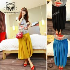 17010961bc8 Leisure Style Solid Color Pleated Bust Skirt Bottom with Elastic Band for Woman  Lady NDD-