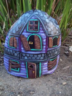 Purple and Gray Painted River Rock Halloween Haunted by Rhocolate, $20.00