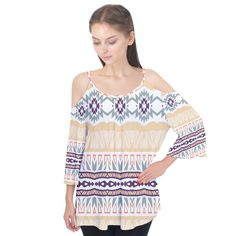 Tribal design Flutter Sleeve Tee Give off boho vibes this summer with this flutter sleeve tee that will be your fave choice at all the festivals, picnics and afternoon strolls in the park.     Made from 90% Cotton, 10% Spandex Loose Fit Fully customizable Hand wash in cold water only Designs imprinted using an advance heat sublimation technique    Attention: Due to bleeding and fabric stretch, the previewed image is only an approximated display of the final product.