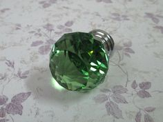Green Glass Knobs Pull / Modern Chic Crystal Knob Shabby Cottage / Kitchen Furniture Decorative Cabinet Dresser Handle Pulls. $7.00, via Etsy.
