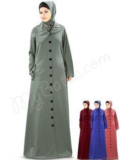 Beautiful Designer Collar Grey Party Wear Jilbab | MyBatua.com  Arisha Jilbab!  Style No : AY-342  Shopping Link : http://www.mybatua.com/arisha-jilbab  Available Sizes XS to 7XL (size chart: http://www.mybatua.com/size-chart/#ABAYA/JILBAB  •Designer collar with frills attached •Full front open with fabric titch button closure •Matching Utility pockets on both sides •Straight sleeves