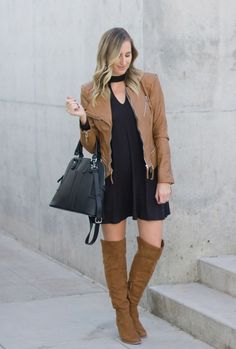 little black dress from @Nordstrom  paired with over the knee boots from @Target perfect winter look!