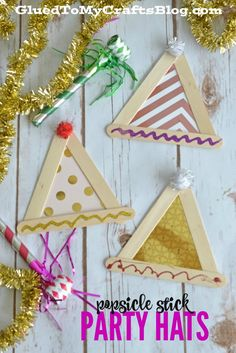 Popsicle Stick Party Hats Kids Craft. Keep your kids entertained during New Year's Eve with fun and easy kids craft ideas like these festive party hats!
