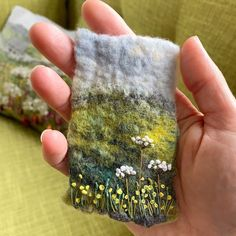 upanddowndale 🌿My mini version of 'Buttercup Fields' is finished. It takes almost as much time to make a small picture as it does a larger one! 🙄Stitched using hand dyed linen and 6 ply fine cotton thread. 😌Swipe for more photos showing detail and size! 🌿  #threadart #textileart #felting #feltartist #upanddowndale #societyforembroideredwork  #madeinyorkshire #miniatures Thread Art, My Roots, Mixed Media Artists, Textile Artists, Cotton Thread, Buttercup, How To Dry Basil, Felting, Arm Warmers