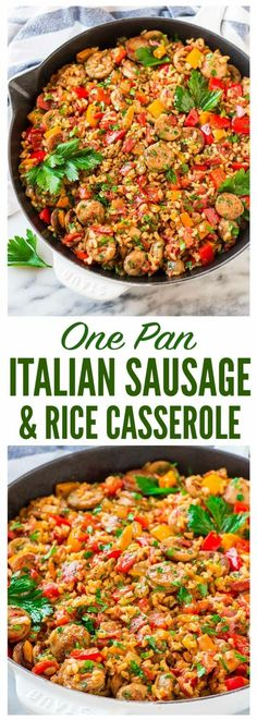 Quick and easy Italian Sausage and Rice Casserole. Cooks in ONE PAN! Smoky chick… Quick and easy Italian Sausage and Rice Casserole. Cooks in ONE PAN! Smoky chicken sausage, juicy bell peppers, and brown rice in a tomato sauce. One of our favorite healthy Sausage And Rice Casserole, Sausage Rice, Casserole Recipes, Sausage And Peppers, Casserole Kitchen, Italian Casserole, Gluten Free Casserole, Pork Recipes, Cooking Recipes