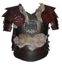 Brown Dark Elf Suit, Fur and Wolf Tooling