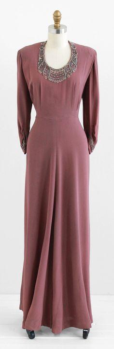 vintage 1940s mauve art deco beaded evening gown.