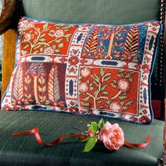 Oxiana - Ehrman Tapestry, 'Oxiana': ethereal and mysterious, a needlepoint kit I nspired by Bukhara carpets. Cross Stitch Pillow, Cross Stitch Embroidery, Felt Embroidery, Tapestry Kits, Wall Tapestry, Star Rug, Needlepoint Kits, Needlepoint Pillows, Needlepoint Canvases