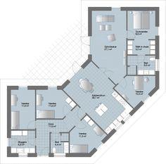L Løsning med praktisk separat forældre-/børneafdeling Solar House, Planer, Exterior Design, House Plans, Villa, Floor Plans, Cottage, How To Plan, Architecture